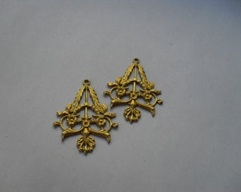 2 Vintage Raw  Brass Filigree Chandelier Drop   ...   B - 4