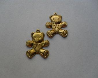 2 Vinatge Raw Brass Teddy Bear Stamping  ...   T-6