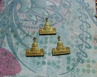 3 Vintage Raw Brass White House Stamping    ...  B - 1