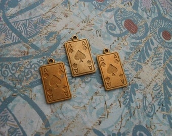 """3 Vintage Red Brass """"ACE"""" Playing Card Stamping   ...  B - 1"""
