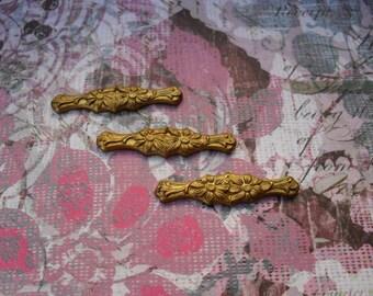 3  Vintage Brass Floral Bar Stamping