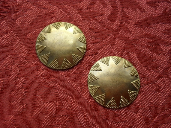 RESERVED    Vintage Brass Domed Round Stamping  ..  B - 3