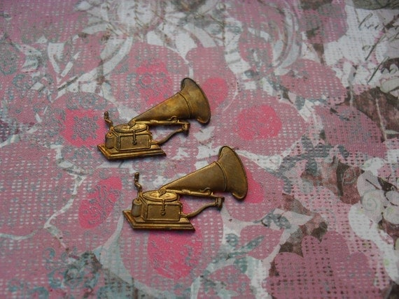 2 Vintage Brass Old Time Phonograph Stampings