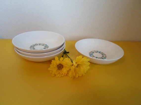 """Mid Century Modern Temporama Set of Four 5 1/2"""" Fruit Bowls by Canonsburg Pottery    Vintage Atomic  (12 available in all)"""