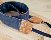 Camera Strap - Black Jean for DSLR and Mirrorless Camera with Brown stitch (Black)