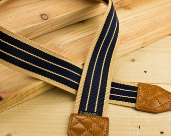 Camera Strap - Blue Stripe for DSLR and Mirrorless (Brown) Gift for him