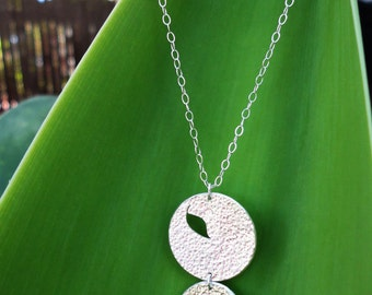 Handmade Sterling Silver Necklace, Falling Leaves Silver Necklace