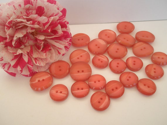 Salmon color resin buttons, 2 hole, 2 sizes, set of 24, made in Greece, new unused