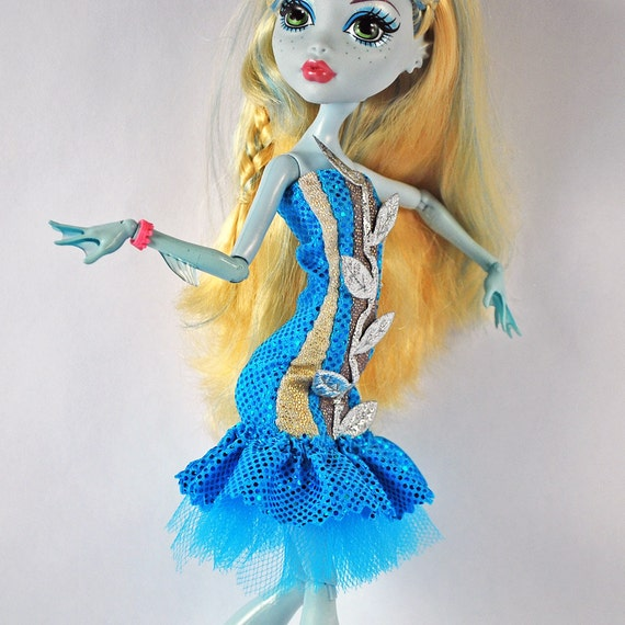 Monster High handmade doll clothes stretchy bright  Spectacular sea blue dress with silver sea weed trim