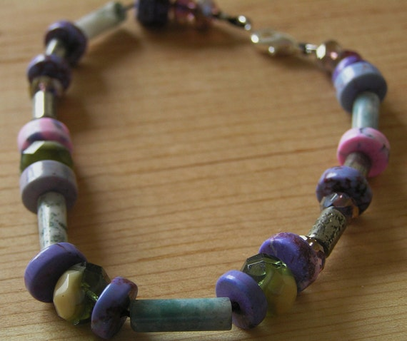 Bracelet- Pyrite, Tree Agate, and Dyed Lilac Turquoise