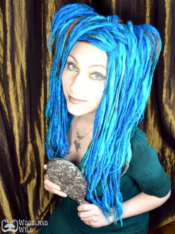 Mermaid ELFLOCKS Dreadlocks Dread Falls in Blue/Green/Brown for Cosplay, LARP, Tribal Belly Dance, Festivals, Alt Fashion, Goth, Performance