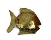Fish vintage BRASS wall HANGING, Nautical home decor, beach house, goldtone, Hand etched, folk art. Fishing cabin, Sea, animal, gold tone