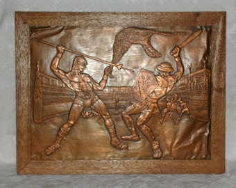 Gladiators in Copper Repousse Vintage Metal Art