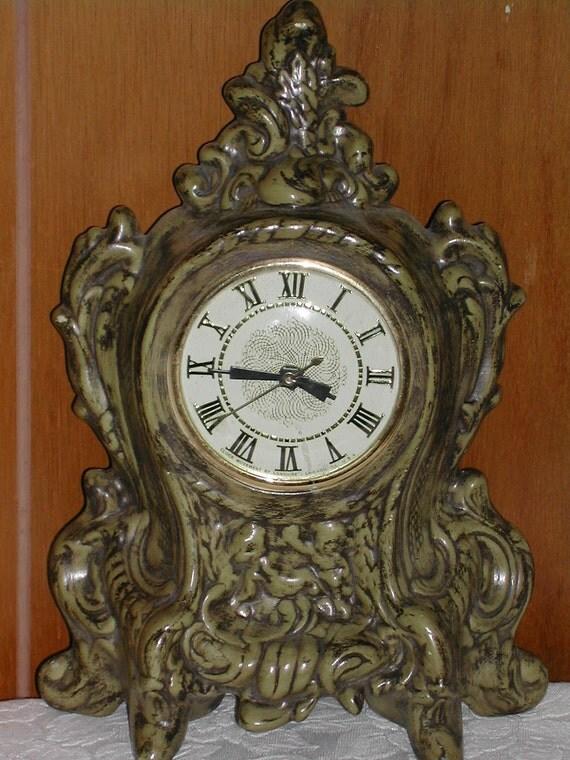 Avocado Green Electric French Provencial Clock Vintage 1960s