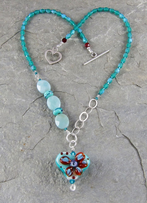 Handmade turquoise lampwork glass heart necklace