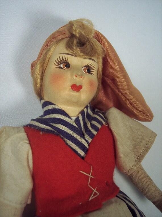 Rare Souvenir Molded Paper & Cloth Italian Peasant Girl Doll