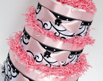 Diaper Cake - Black, Pink & White Damask Elegant Baby Shower Diaper Cake Centerpiece  - 3 Tier