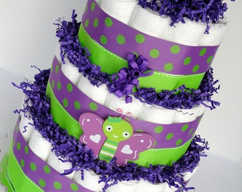 Diaper Cake - Colorful Purple & Green Polka Dot Butterfly Baby Girl Baby Diaper Cake Shower Centerpiece Shower Decoration Gift