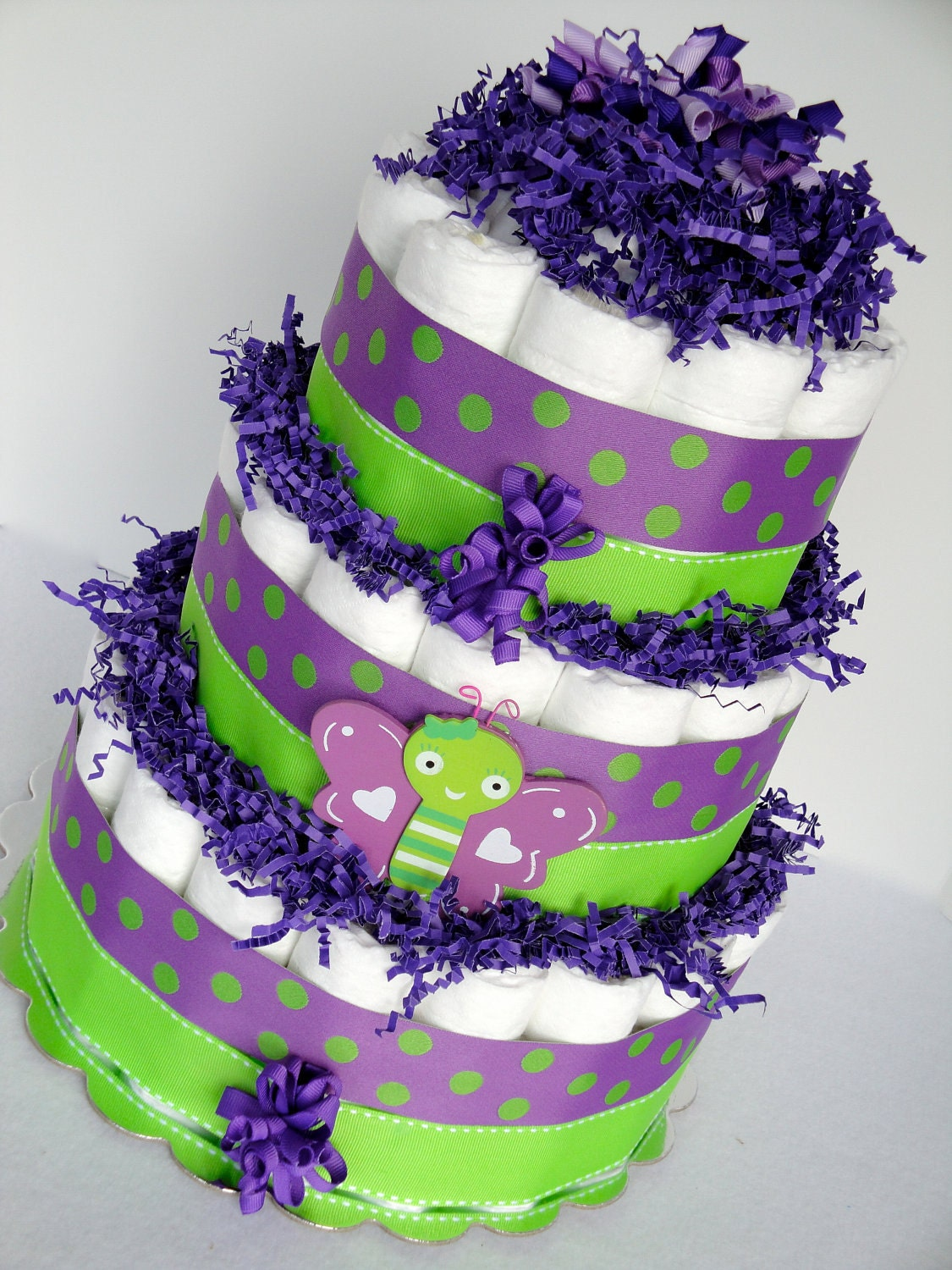 Diaper Cake Colorful Purple Green Polka Dot Butterfly Baby