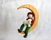 Boys Room Decoration needle felted  mobile: The boy and the sheep in the moon
