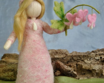 Waldorf inspired needle felted doll: Bleeding-heart-pink-flowers fairy