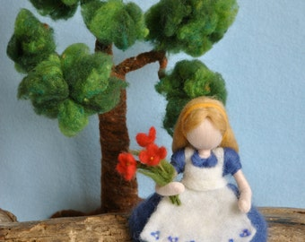 Waldorf inspired needle felted doll: The girl with the red flowers bouquet