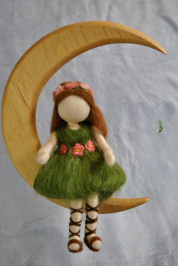 Waldorf inspired needle felted doll mobile: The green fairy in the Moon