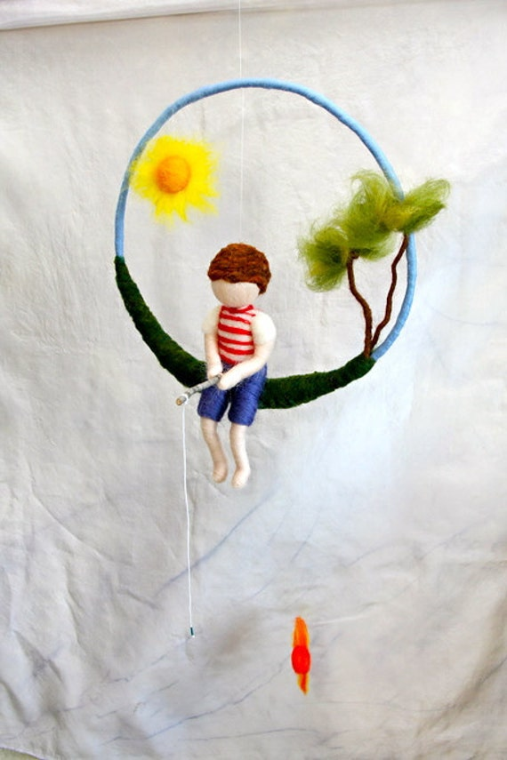 Fishing Boy Waldorf inspired needle felted  mobile: The  Boy  with tree and sun