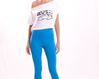 Yoga Pants Bright Blue Stretch Jersey