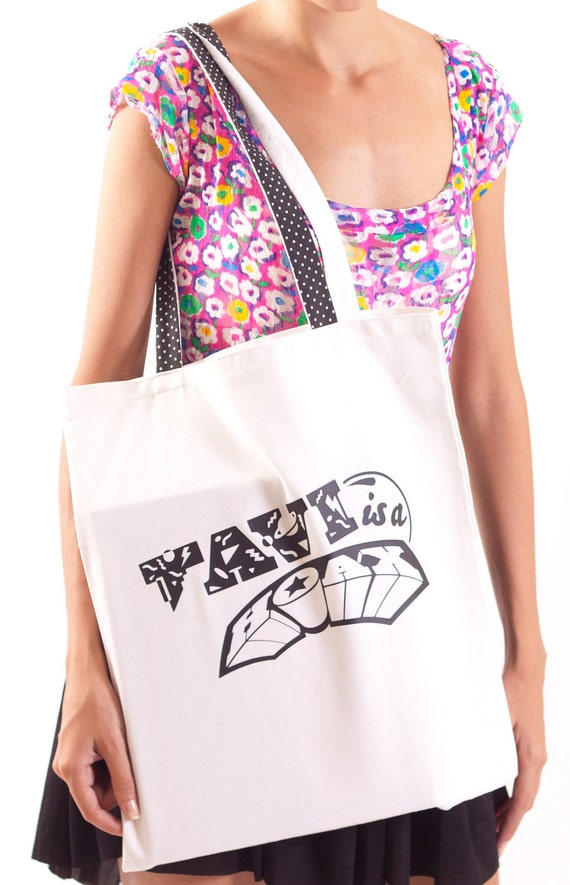ON SALE White Print Canvas Tote Bag Tavi is a Hoax