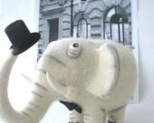 Needle Felted Toy-White elephant-Felt Toys