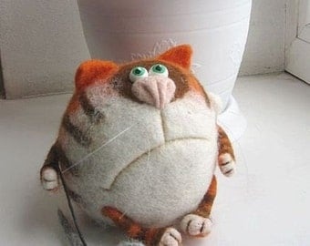 Needle Felted Toy - Orange cat Basil-Soft Sculpture, OOAK