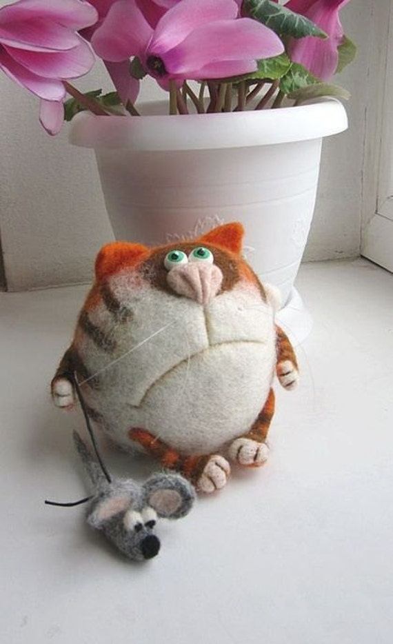Needle Felted Toy - Orange cat Basil-Soft Sculpture, OOAK
