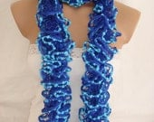Hand knitted Dark Blue&Turquoise Blue Ruffled scarf by Arzus