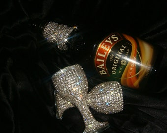 Custom designed handmade pair of liqueur glasses with Czech rhinestones
