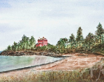 Marquette Michigan Light House - a Watercolor Limited Edition Fine Art Giclee Print - Lake Superior