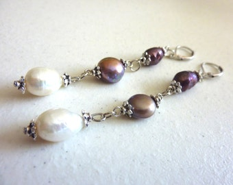 Purple Lilac Ivory Freshwater Pearls Dangle Earrings