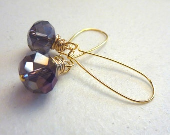 Purple Crystal Ball Wire Wrapped Gold Drop Earrings
