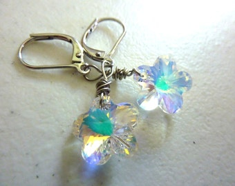 Swarovski Crystal Flower Earrings