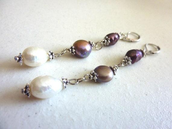 Purple Lilac Ivory Freshwater Pearls Dangle Earrings