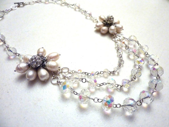 Ivory White Freshwater Pearls Flowers and Triple Strand Crystals Bridal Necklace