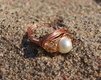 The Hunger Games District 3 Inspired- Copper Wire Wrapped Ring