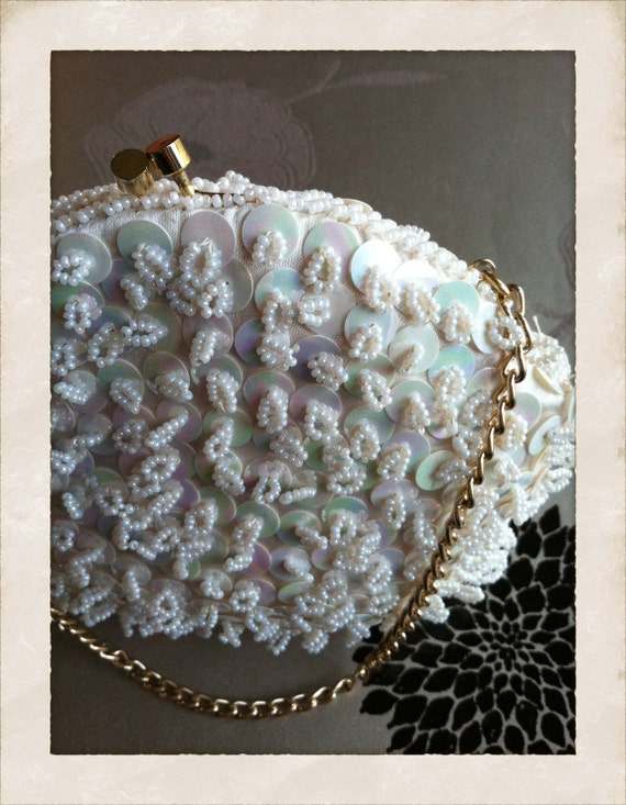 Vintage Bridal/Formal Sequin/Beaded Purse Circa 1950