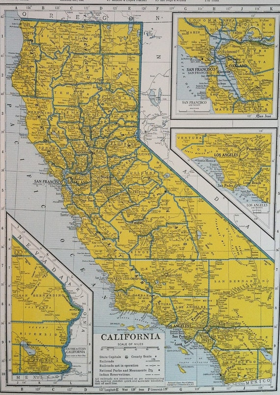 Vintage Maps - California and Arkansas - 1940s