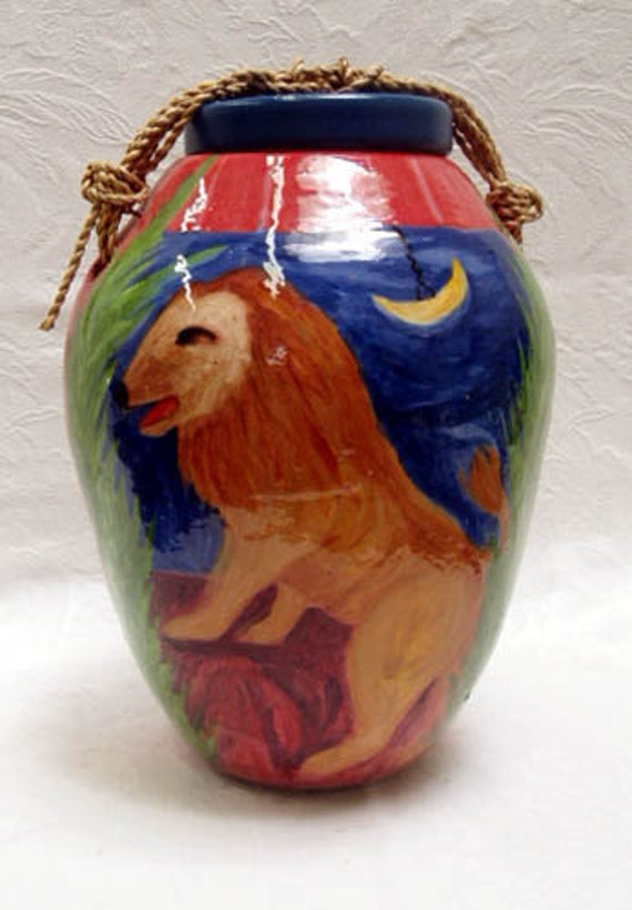 Jar with Lid Urn Ceramic with Jute and Wood Lid closure Colorful Home Decor Pet Funerary Dreamlike Lion Decorative 10x7x7""