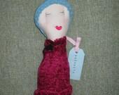 Baby Ava: Handmade Rag Doll - Recycled Textiles - Fuchsia & Sky Blue