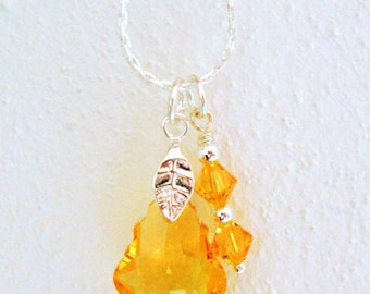 SALE Swarovski Crystal Necklace - Yellow Pendant Baroque Drop - Handmade Beaded Necklace - Charm in Silver