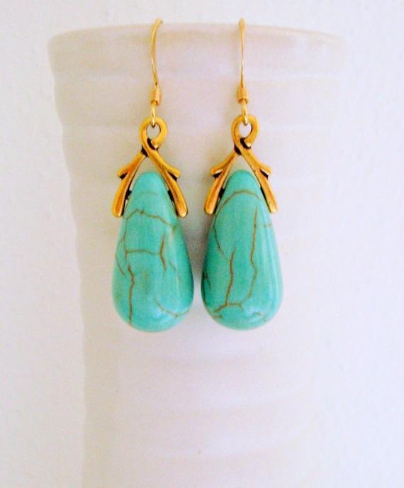 Turquoise Gold  Earrings - Gemstones Earrings - Drop Earrings - Sky blue Earrings in Gold