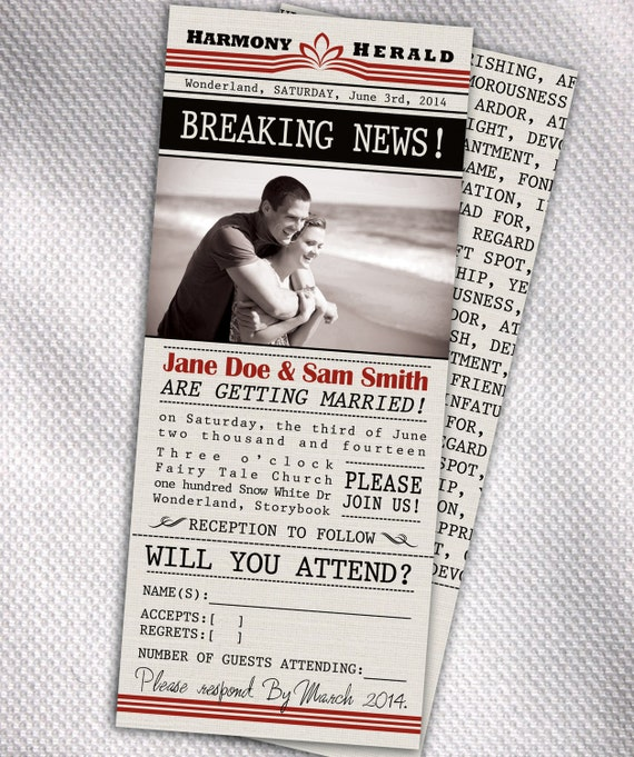 Items Similar To Newspaper Clip Personalized Wedding Invitations On Etsy