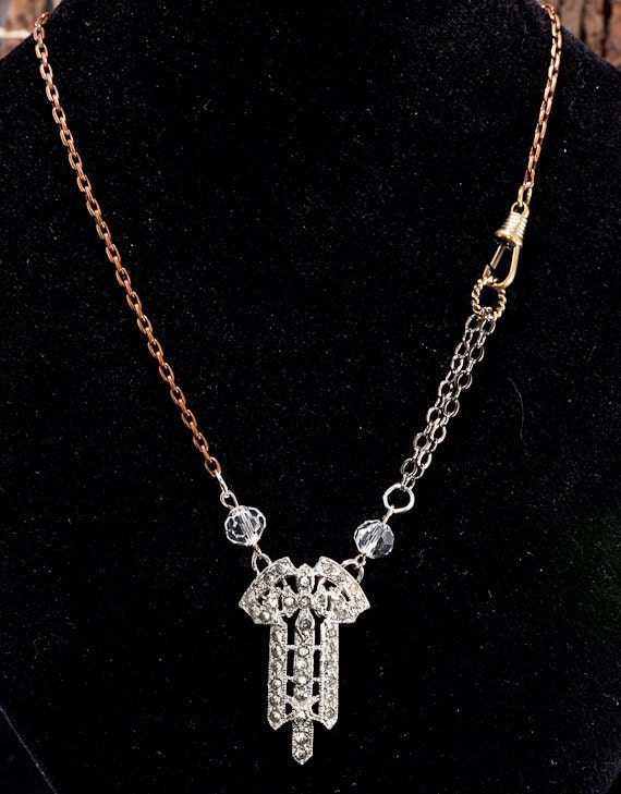Repurposed Upcycled Antique Watch Chain Art Deco Dress Clip NECKLACE